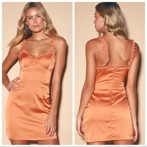 ✨Sale✨Lulus Orange Satin Ruffle Bustier Mini Dress